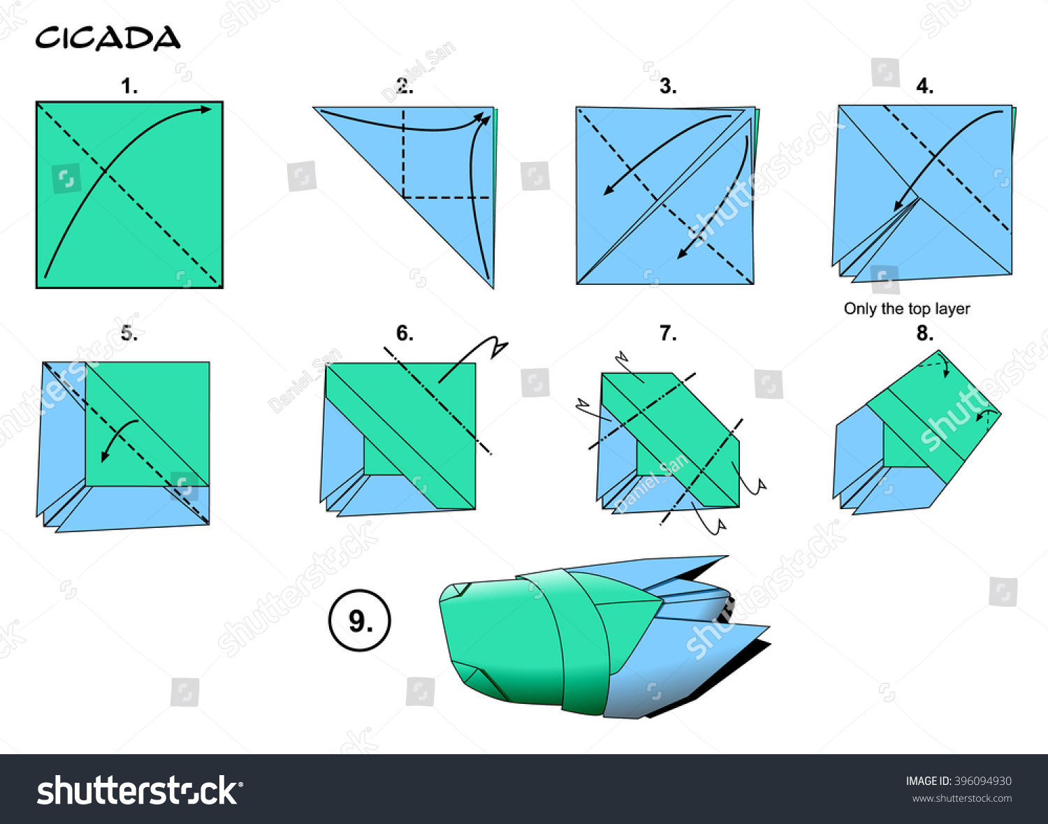 Origami Insect Traditional Cicada Diagram Instructions Stock Steps Paper Folding Art