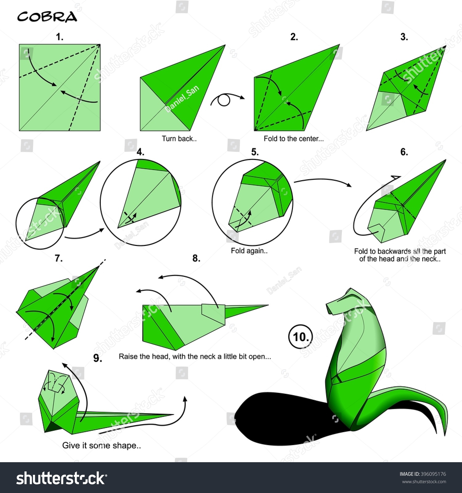 Origami animal snake cobra diagram instructions stock illustration origami animal snake cobra diagram instructions step by step paper folding art jeuxipadfo Images