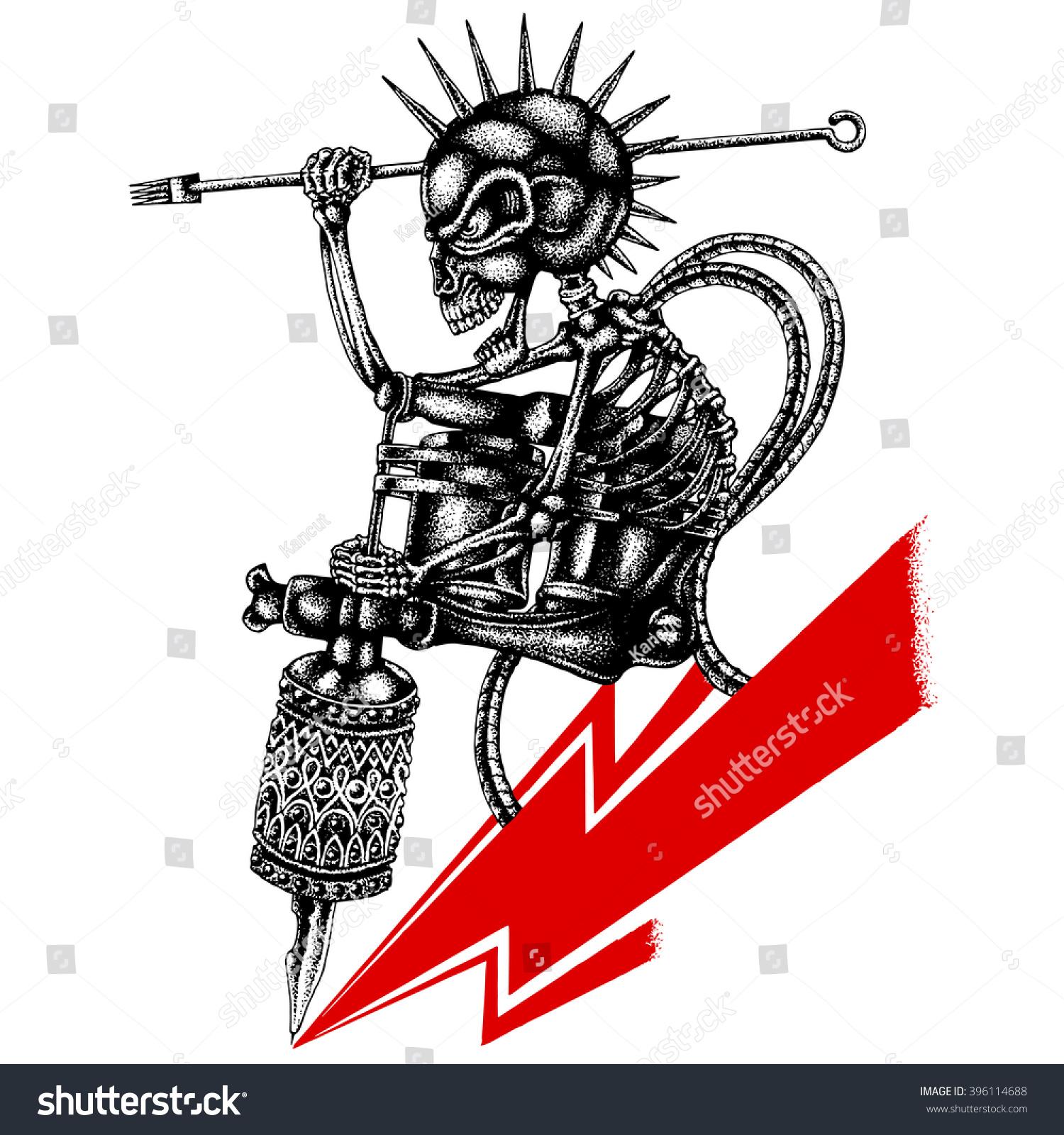 Tattoo Machine Line Drawing : Cool hand draw punk skull tattoo stock vector