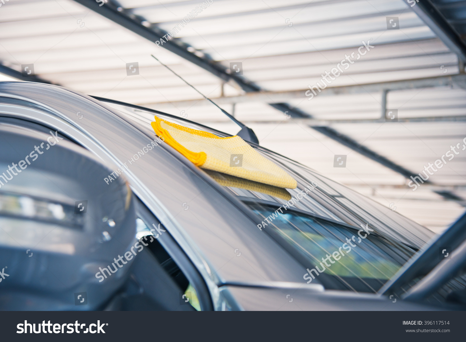 yellow microfiber cloth, cleaning glass car. #396117514