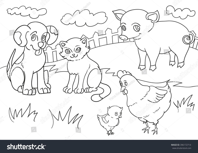 vector illustration set farm animals line stock vector 396172714