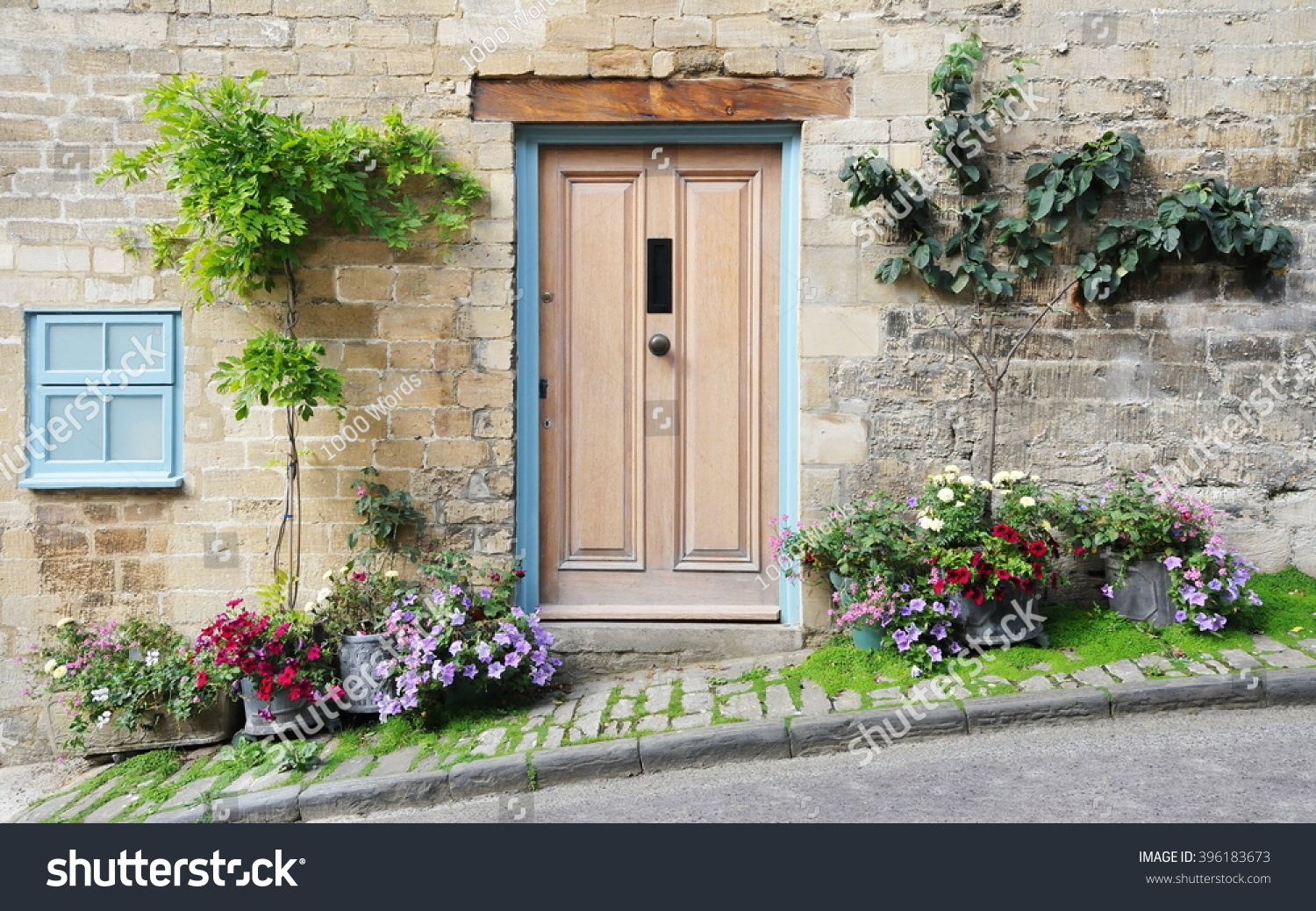 Front door of an old english cottage - Front Door And Exterior Of A Beautiful Old English Cottage