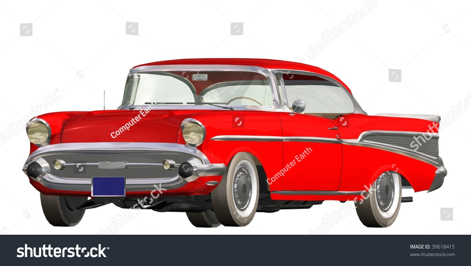 3d Red Vintage Automobile White Background Stock Illustration ...
