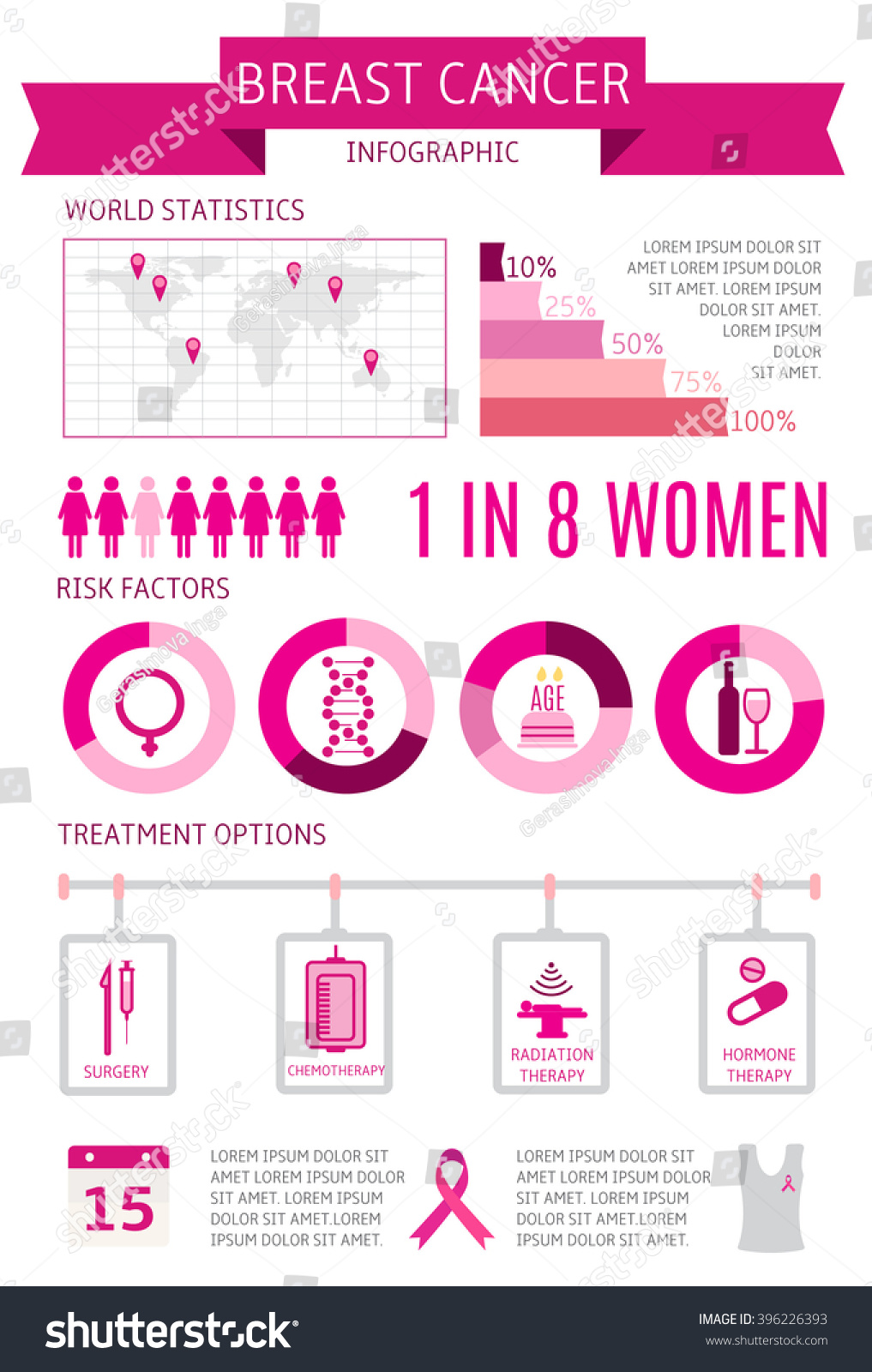 Breast cancer awareness infographics ribbon symbol stock vector breast cancer awareness infographics ribbon symbol with global links information graphic icons template nvjuhfo Choice Image