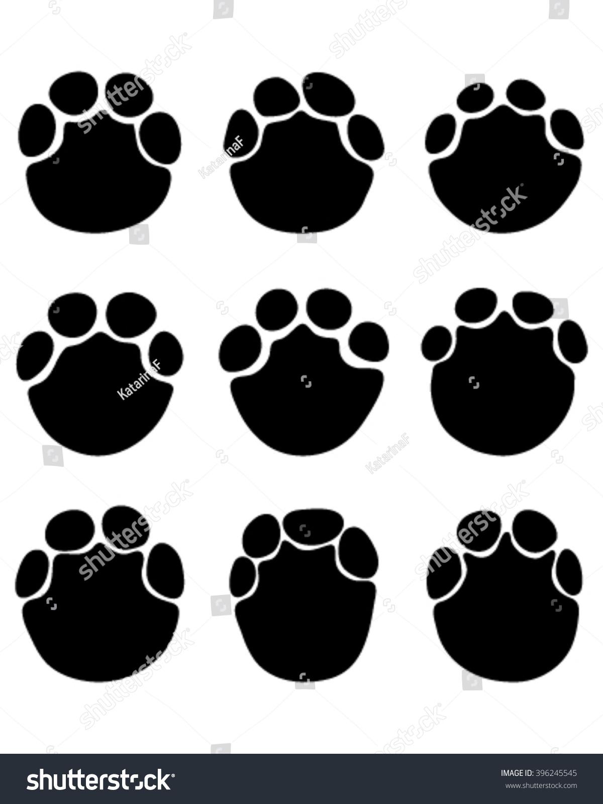 Black Print Paws Elephant Vector Stock Vector 396245545 ...