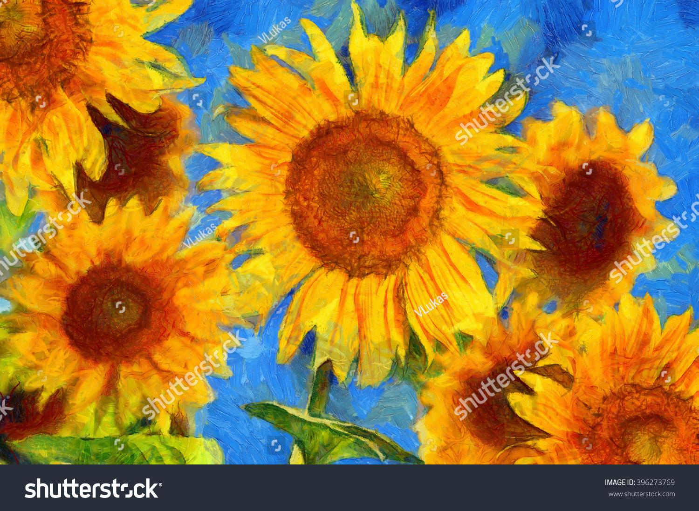 Sunflowers Vincent Van Gogh Style Digital Stockillustration