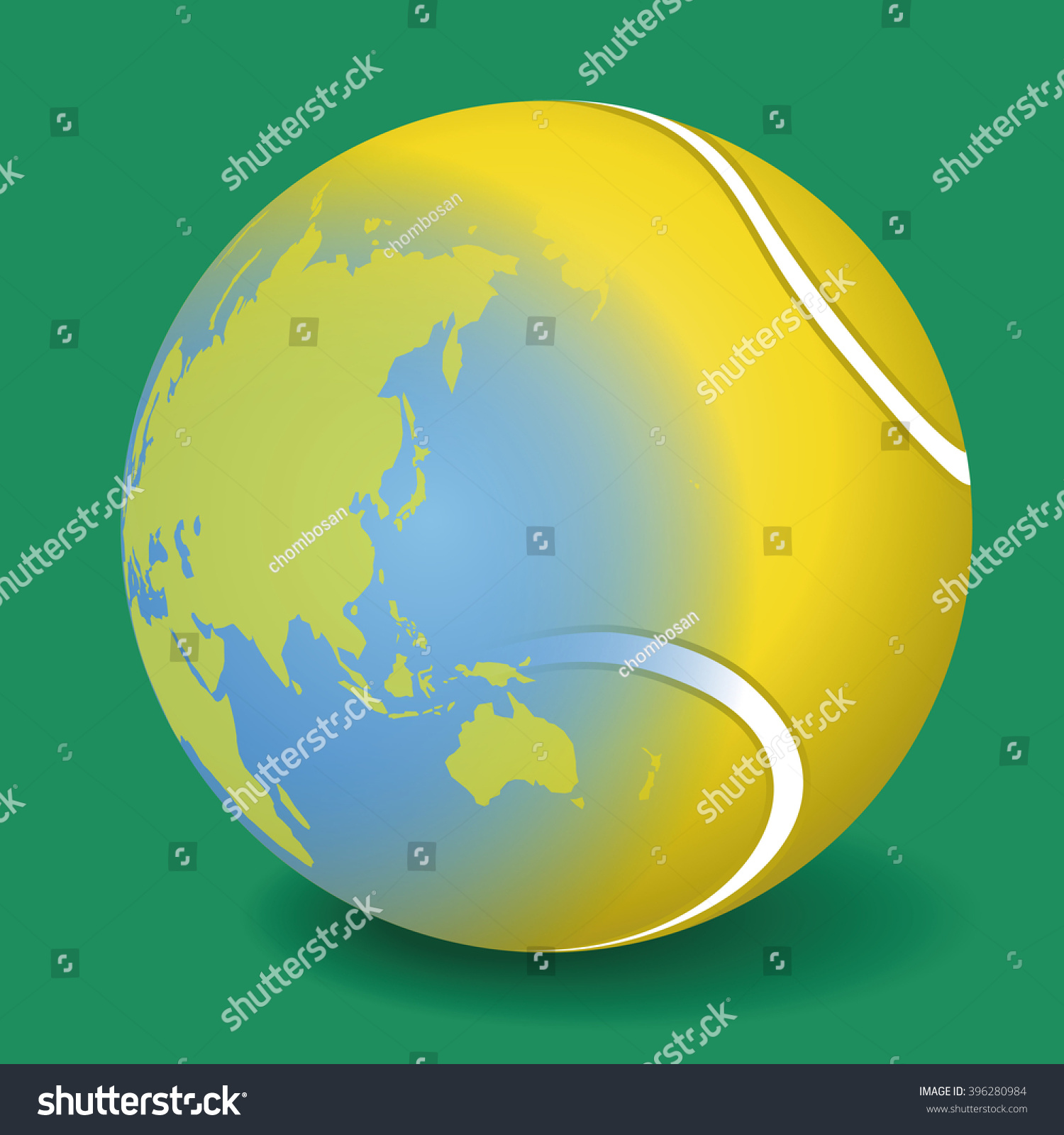 Tennis ball world map vector illustration stock vector 396280984 tennis ball and world map vector illustration gumiabroncs Images