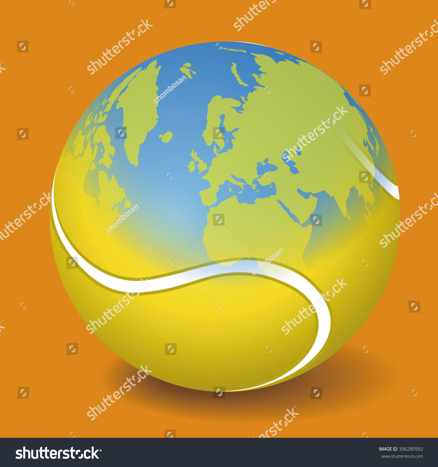 Tennis ball world map vector illustration stock vector 396280993 tennis ball and world map vector illustration gumiabroncs Gallery