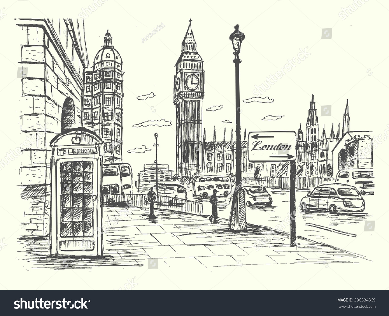 London City Scene Big Benroadtrafficarchitecturetelephone Booth ...