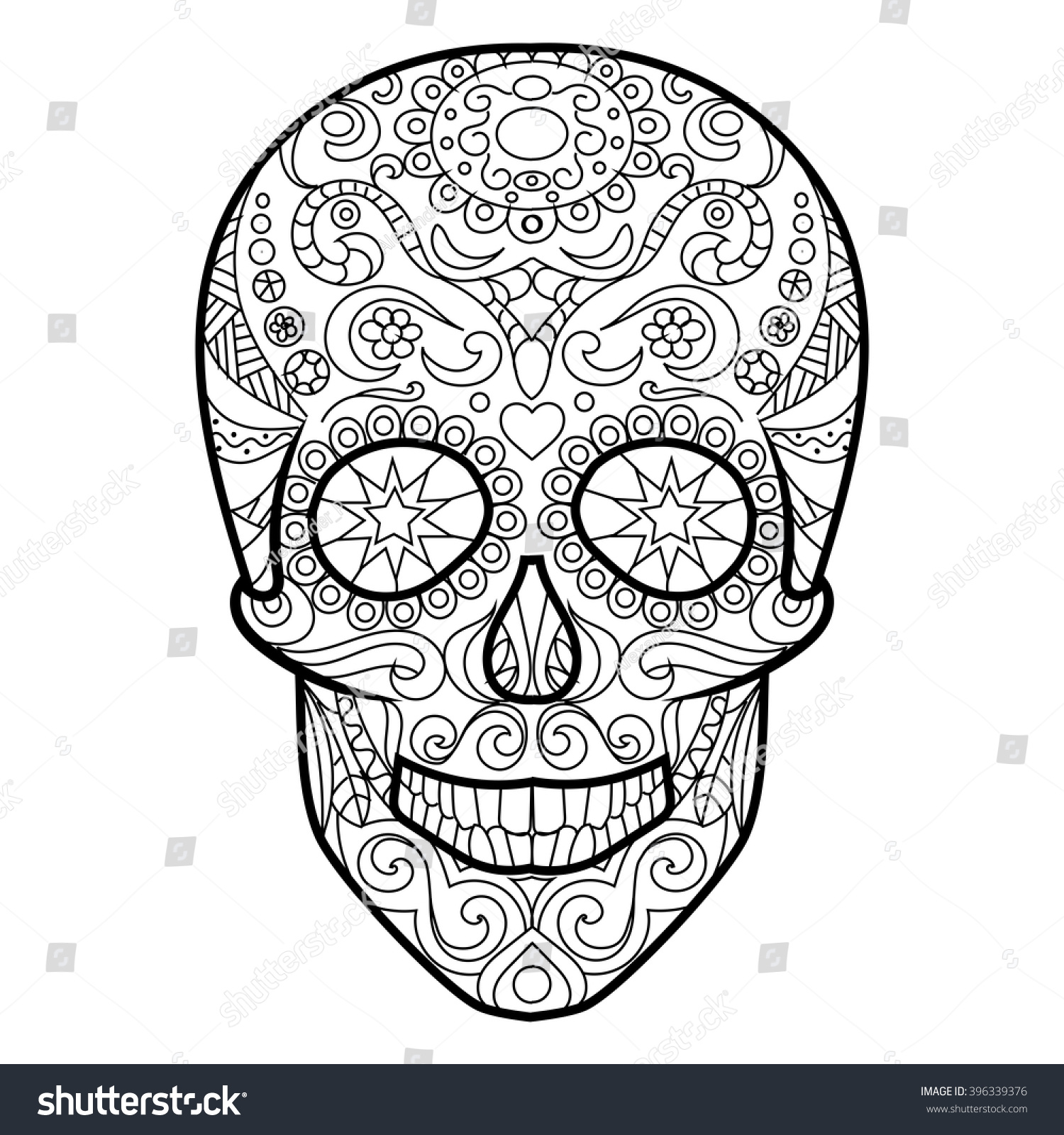 Hunan Skull Coloring Book Adults Vector Stock Vector