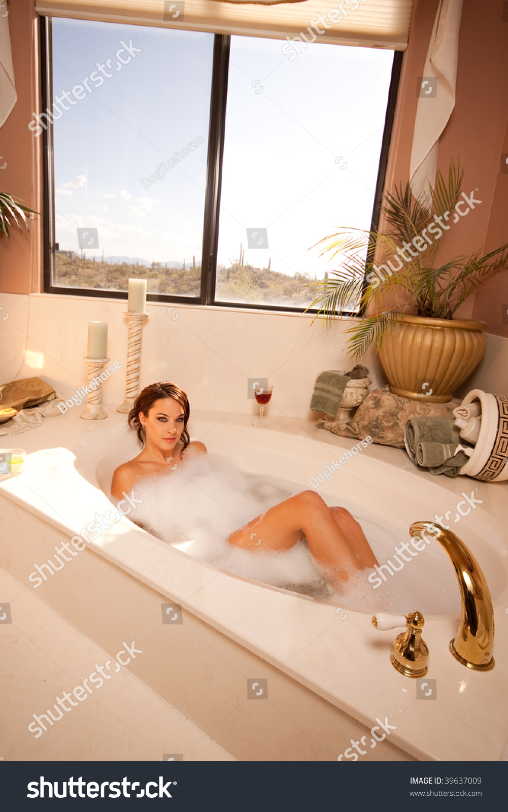 Woman Relaxing Bathtub Stock Photo (100% Legal Protection) 39637009 ...