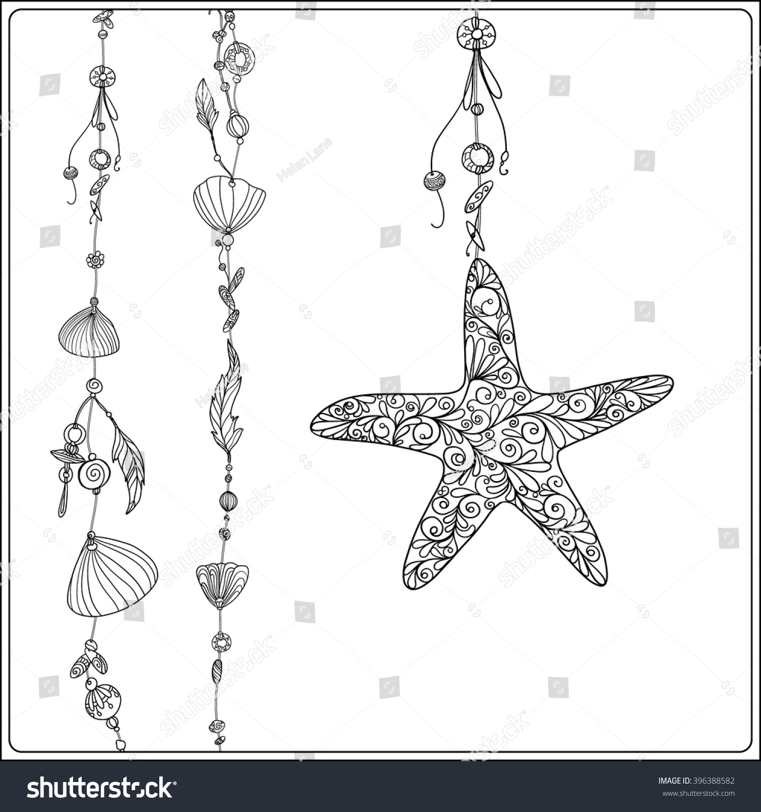 Adult Coloring Page Sea Star Sea Stock Vector (Royalty Free ...