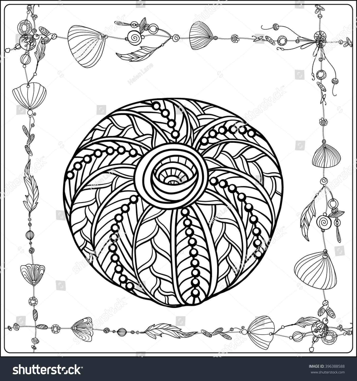 coloring page sea shells boho stock vector 396388588