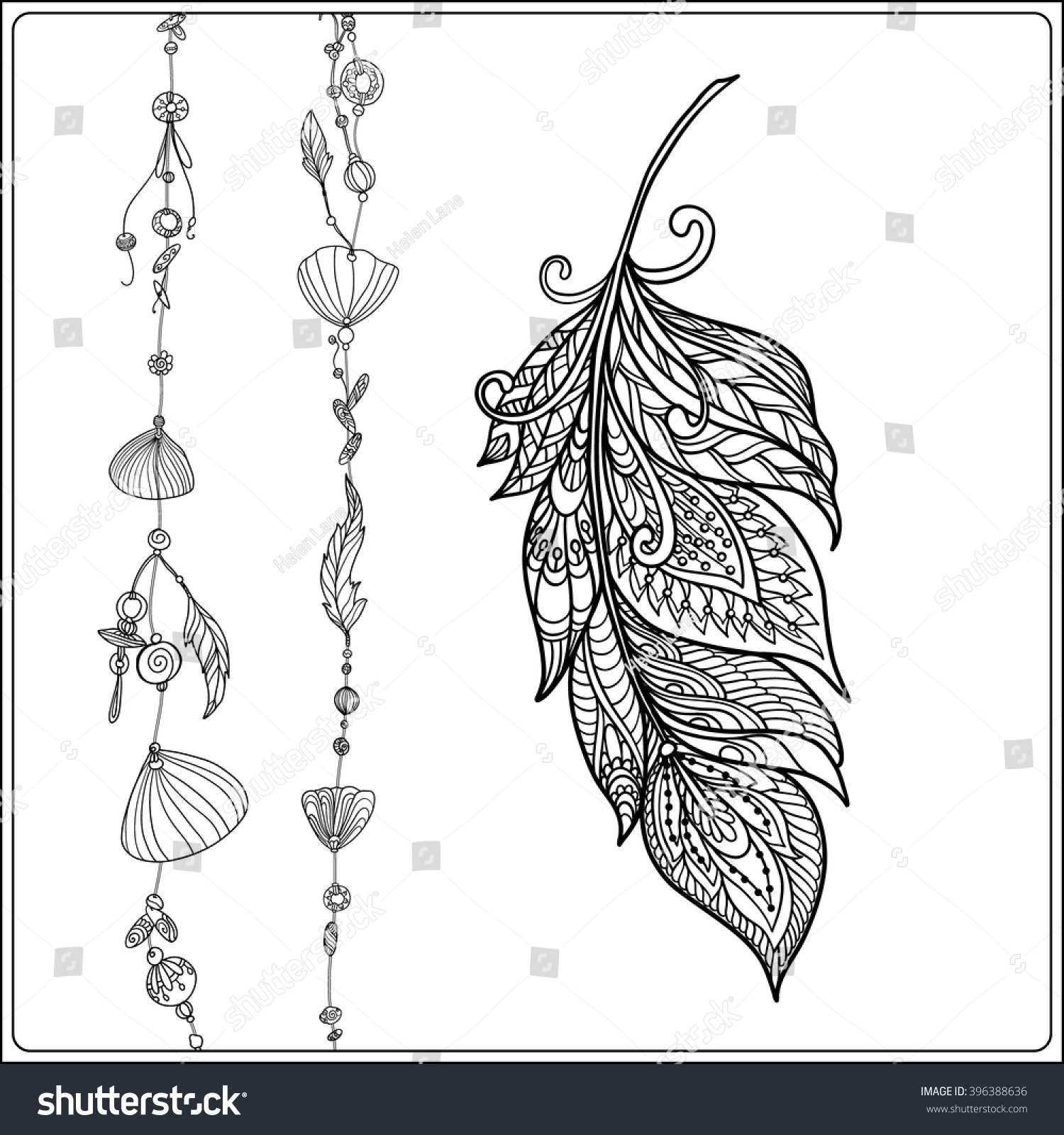 coloring page feather sea shells stock vector 396388636