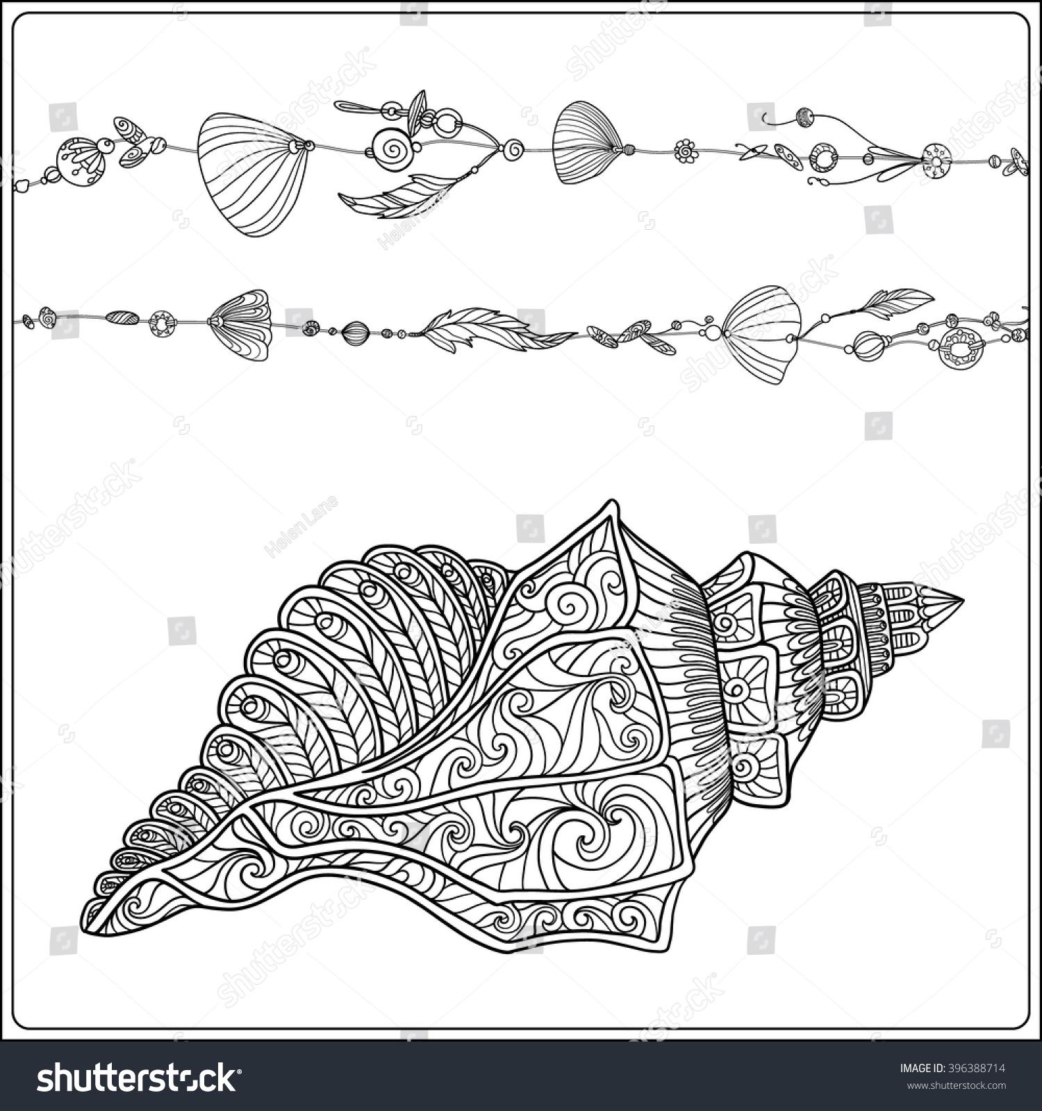 coloring page sea shells boho stock vector 396388714