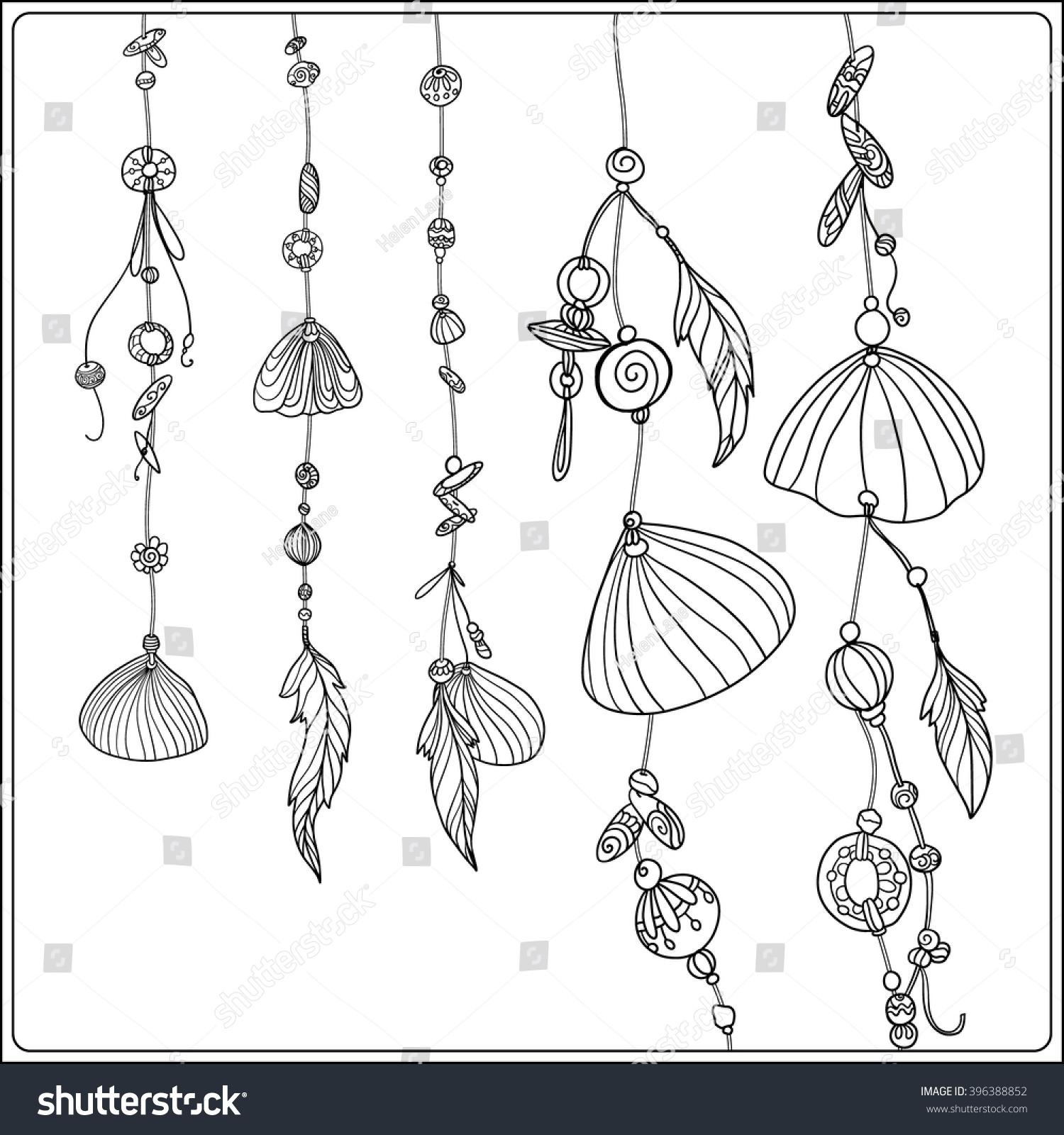 coloring page sea shells boho stock vector 396388852