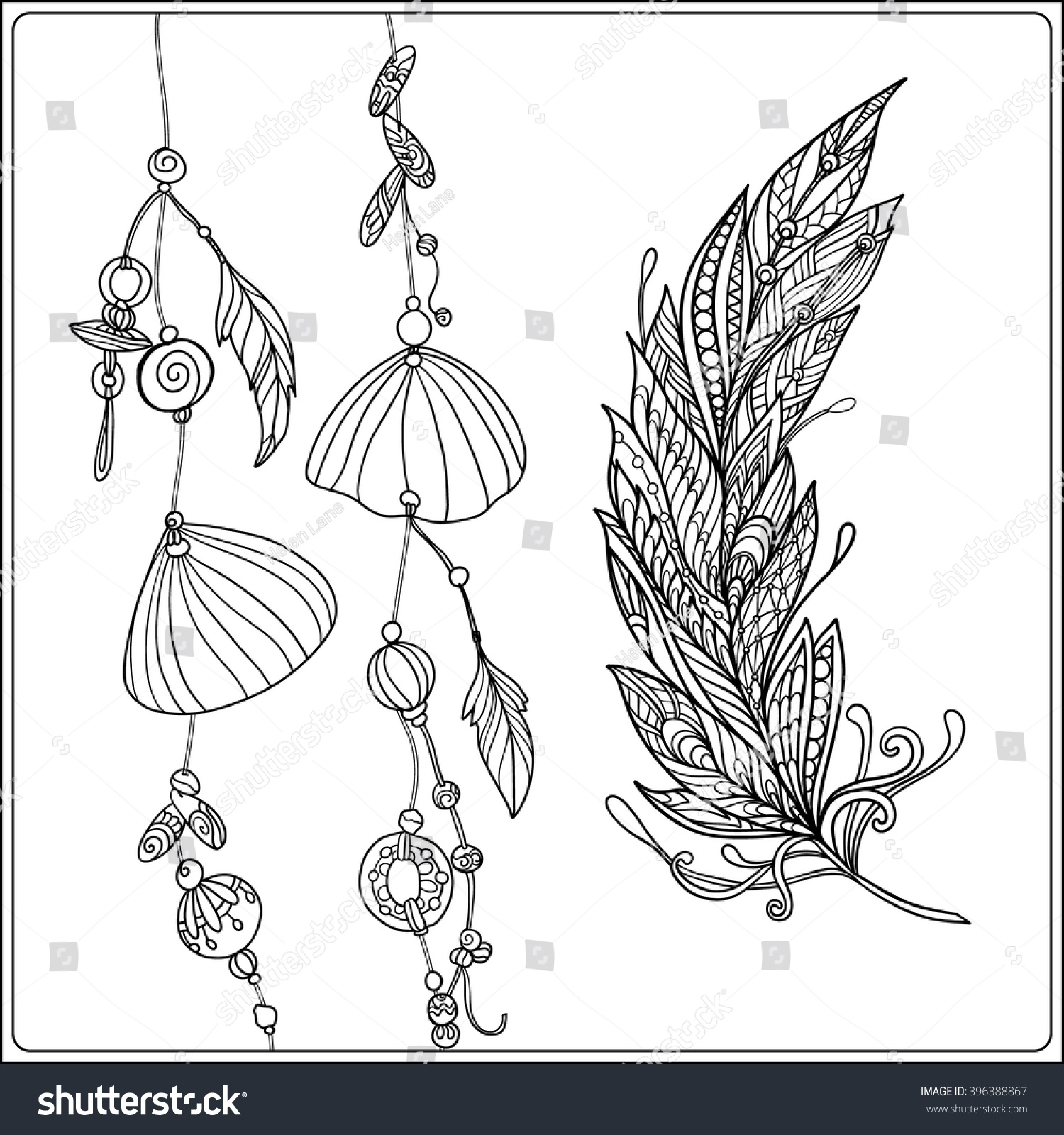 coloring page feather sea shells stock vector 396388867