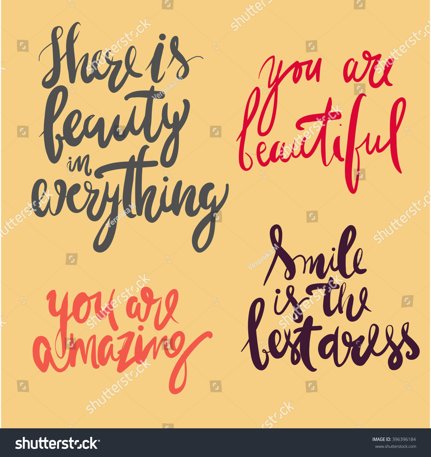 Beauty Quotes Set There Beauty Everything Stock Vector ...
