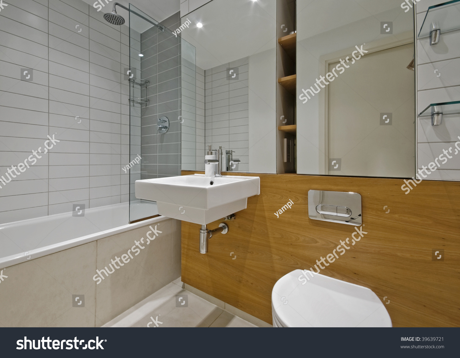 Modern Luxury Bathroom With Wooden Wall Covers And Glass