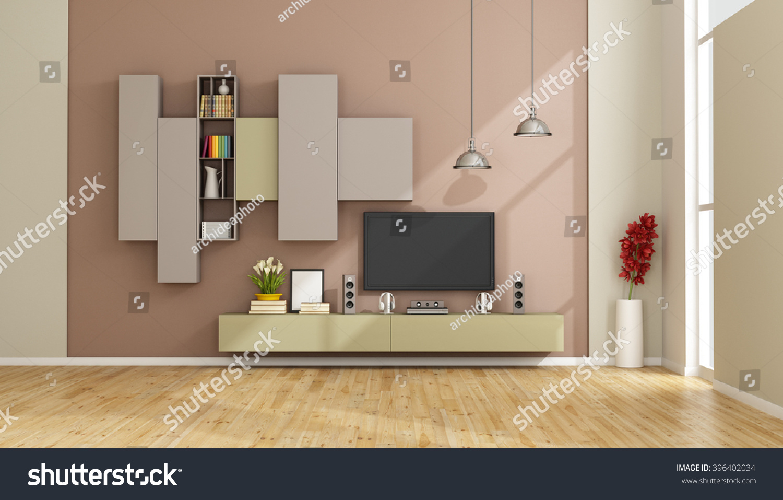 Modern Lounge Colorful Wall Unit Tv Stock Illustration 396402034 ...