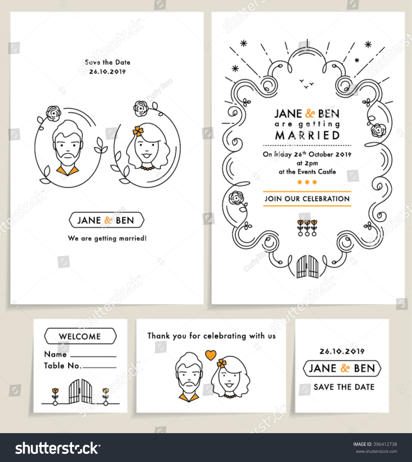 Set wedding invitation cards wedding collection stock vector set of wedding invitation cards wedding collection with doodle line art elements editable vector stopboris Image collections