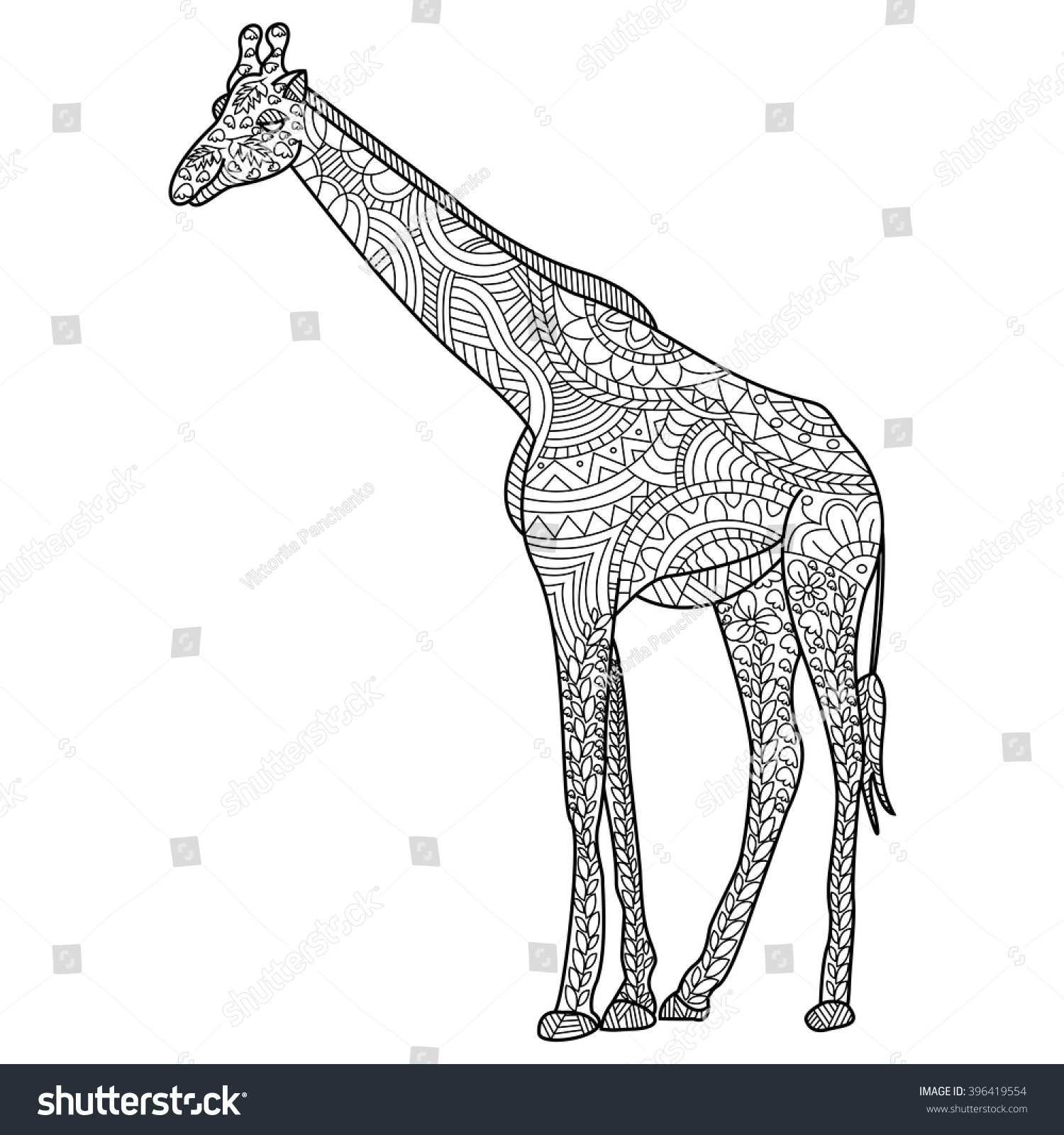 giraffe coloring book for adults vector illustration anti stress coloring for adult zentangle