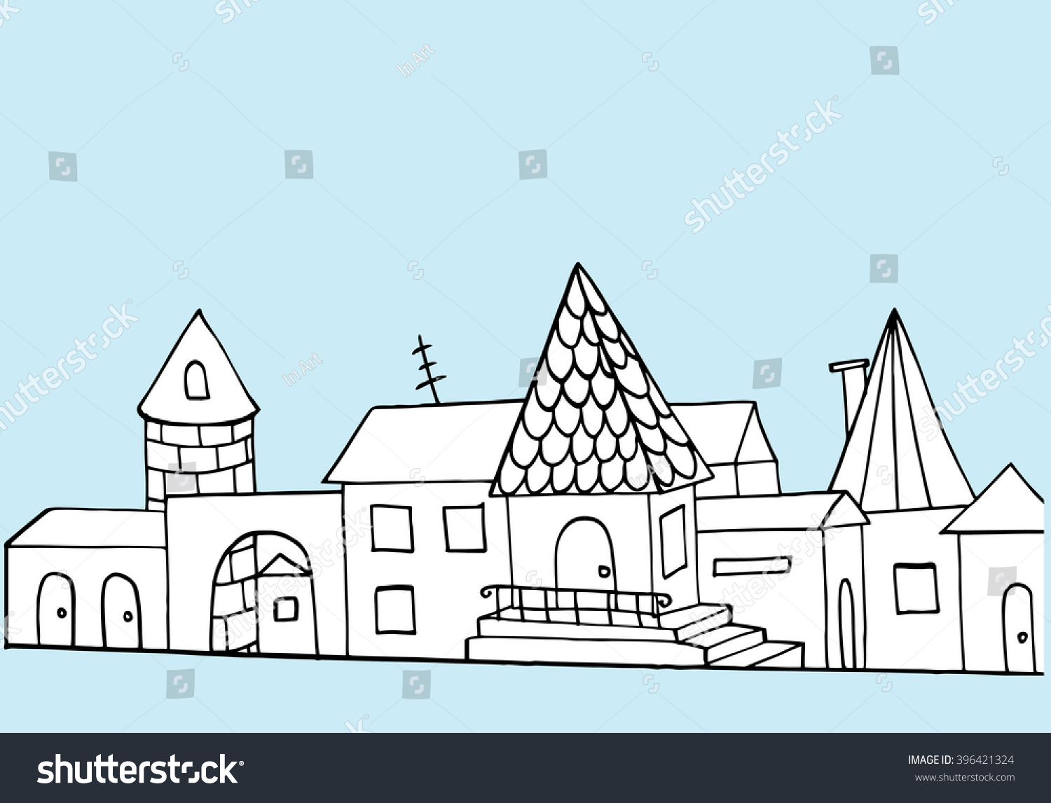 Line Art Home : Decorative home stylized city street cottages stock vector