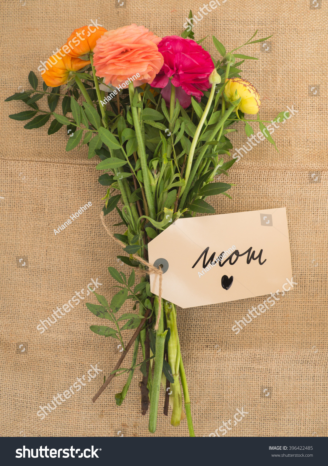 Beautiful Bouquet Flowers Message Love Mom Stock Photo Edit Now