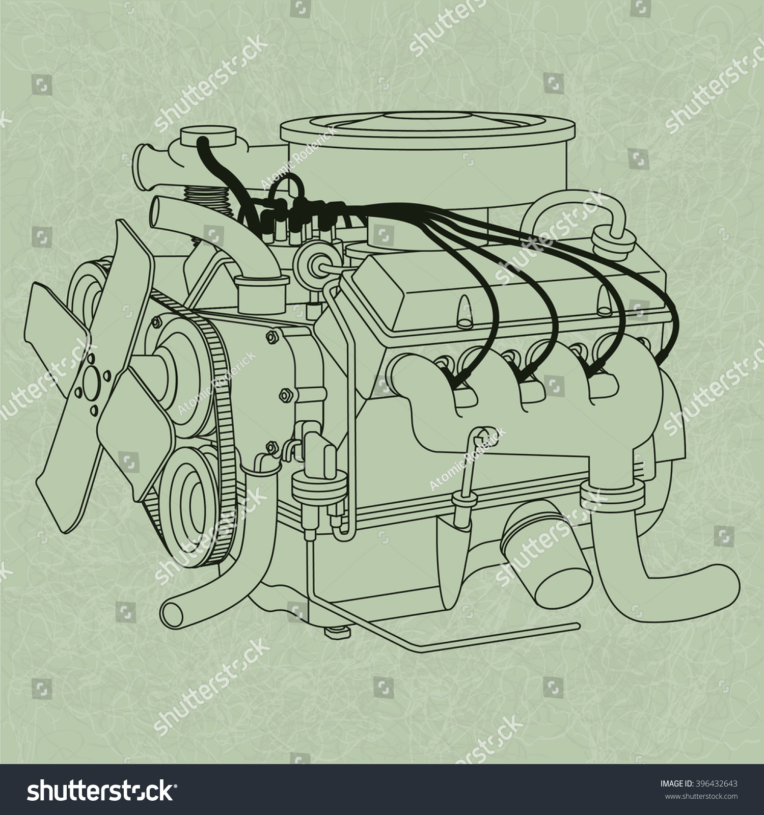 generic car engine diagram on green stock vector 396432643 generic car engine diagram on a green page background in the style of an