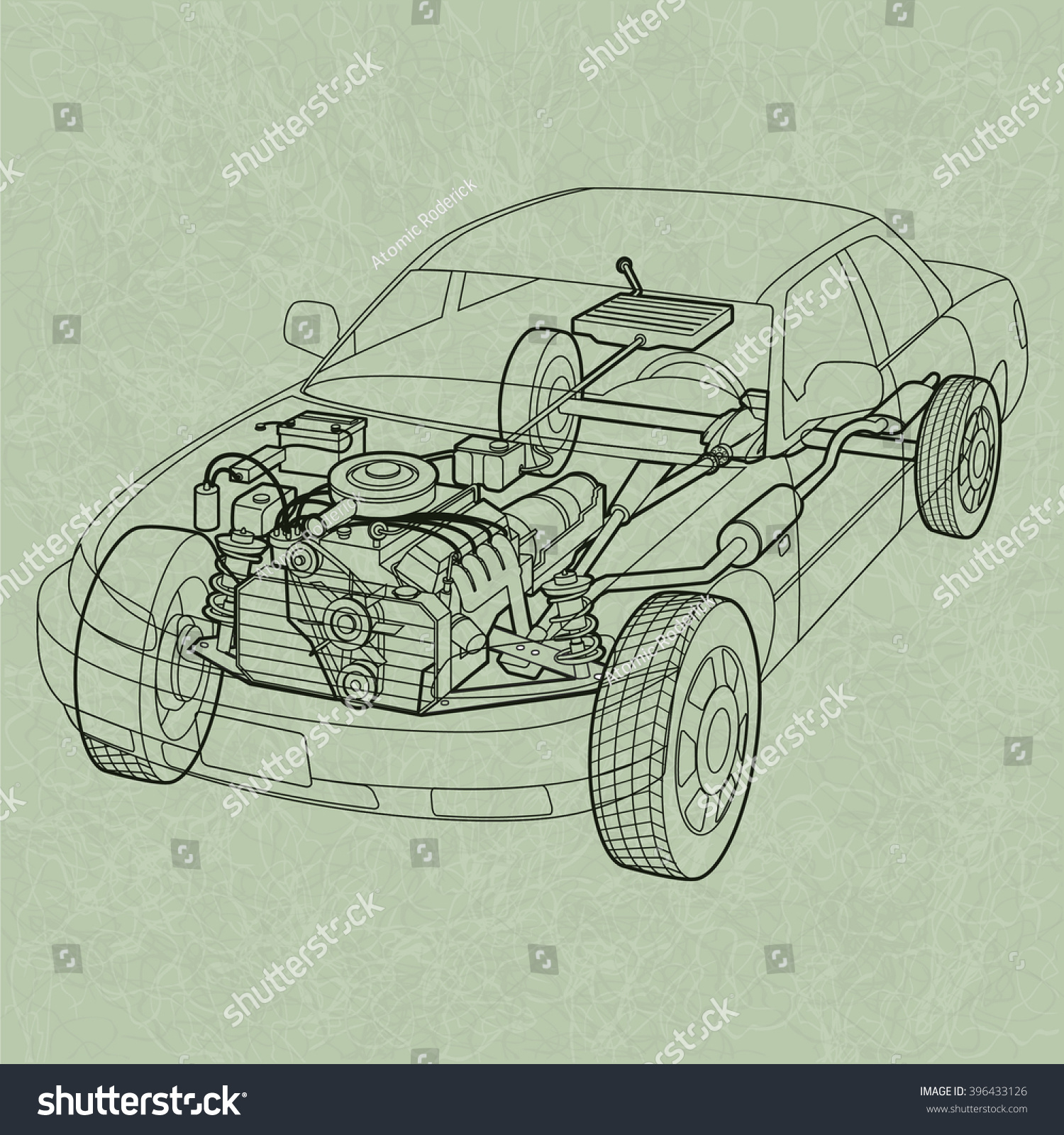 Car Cross Section Diagram Not Lossing Wiring Engine Generic Ghosting Stock Vector Royalty Rh Shutterstock Com View Geology