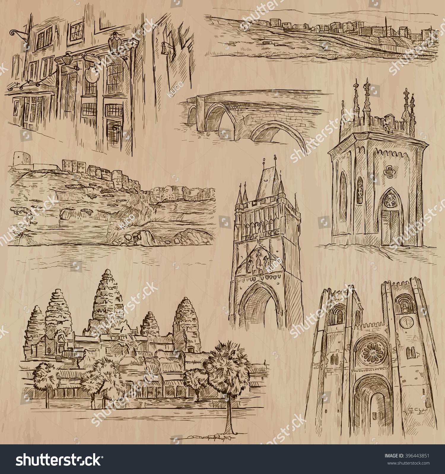 ARCHITECTURE Famous Places Around World Description Stock Vector 396443851