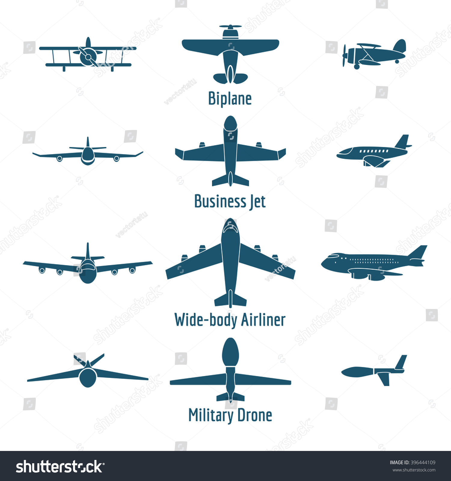 different airplanes types retro plane business stock vector different airplanes types retro plane and business jet passenger and military drone vector