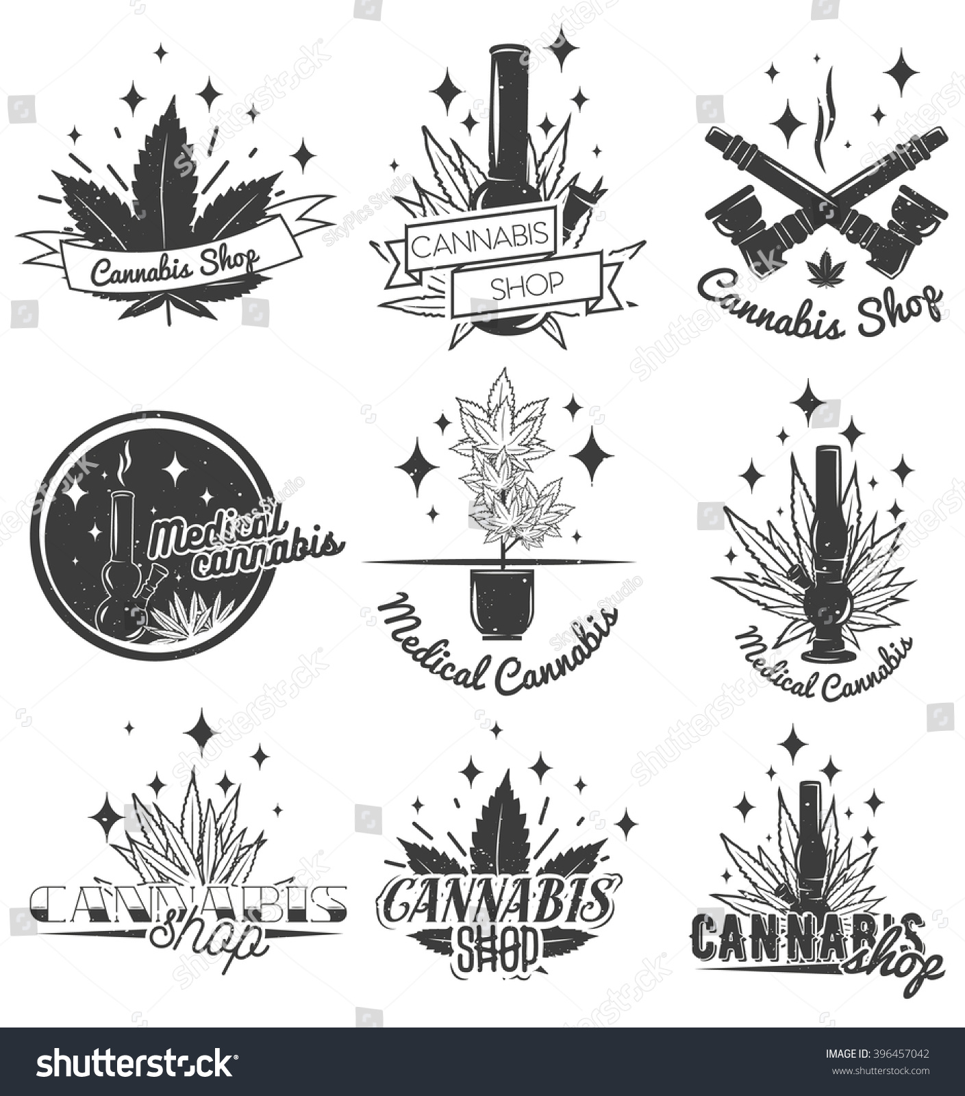 Set medical marijuana labels vintage style stock illustration set of medical marijuana labels in vintage style cannabis emblems badges and logos for biocorpaavc Choice Image