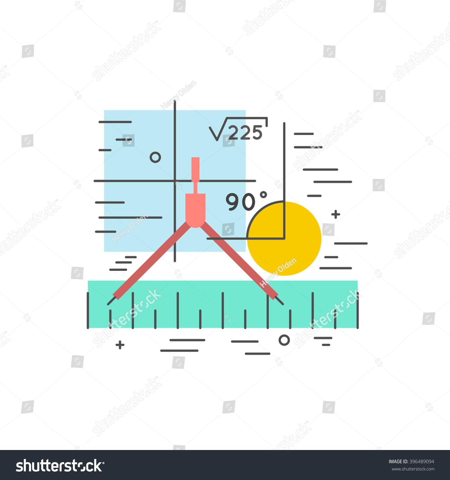 Math Flat Line Clipart Concept Illustration Stock Illustration ...