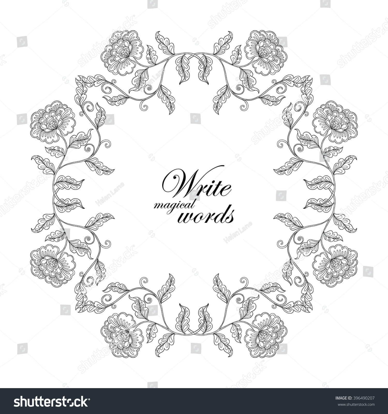 Decorative Vintage Flowers Frame Border With Space For Any Text Coloring Book Adult And Older Children Page Vector Illustration Stock
