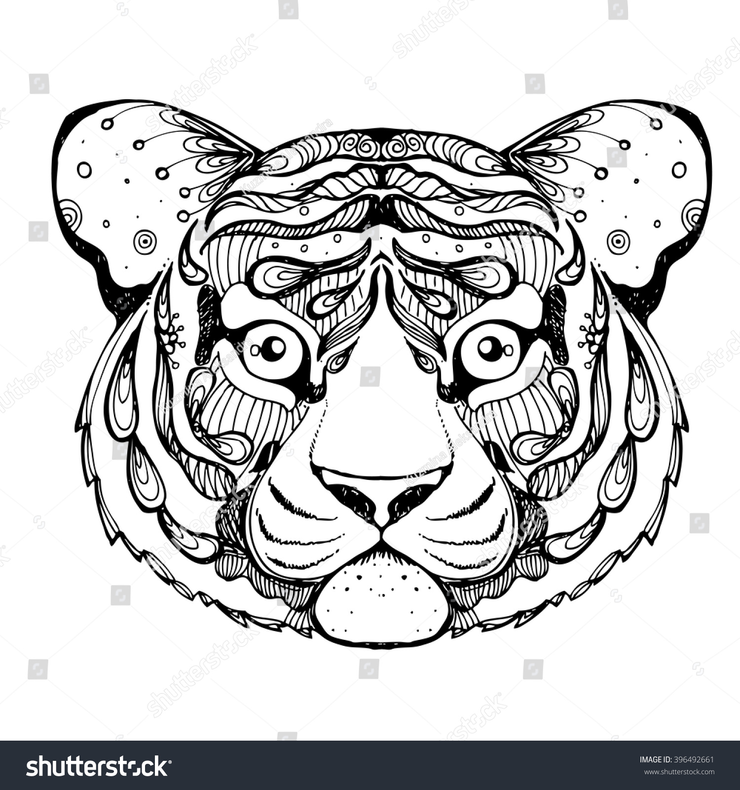 hand drawn ink doodle tiger on stock vector 396492661 shutterstock