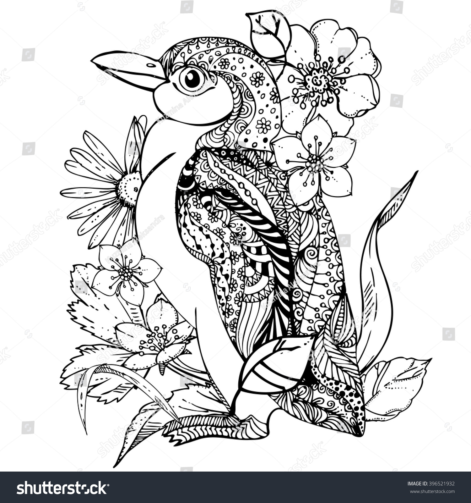 hand drawn ink doodle penguin flowers stock vector 396521932