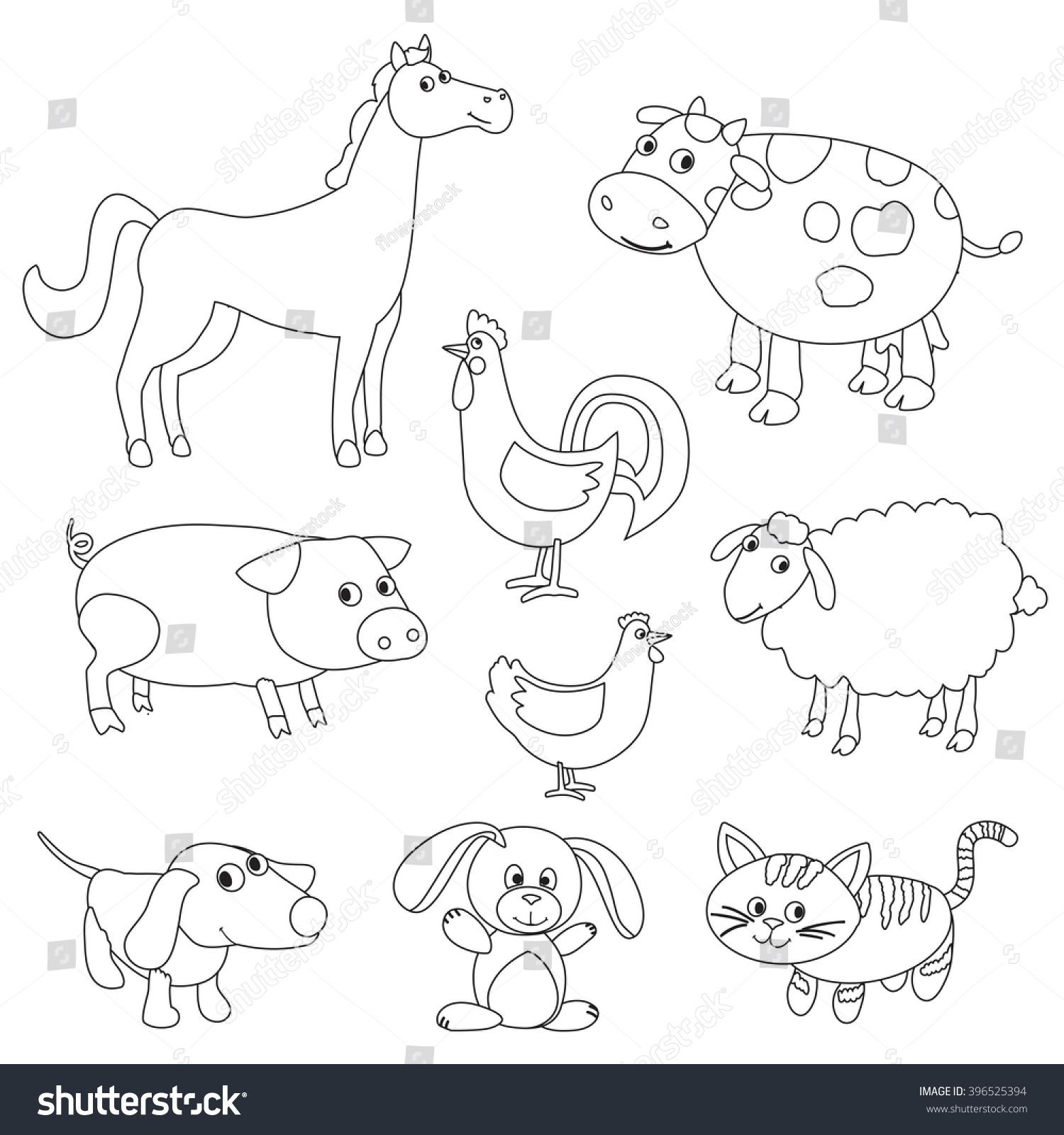 cute cartoon farm animals birds coloring stock illustration