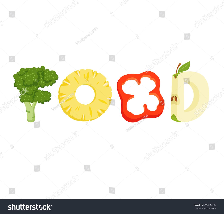 Food Vegetables Letter Healthy Vector Lettering Stock Vector ...