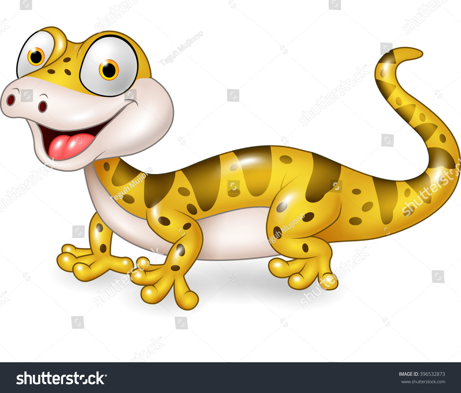 Cute Lizard Posing Isolated On White Stock Vector 396532873 ... for Cute Lizard Clipart  131fsj