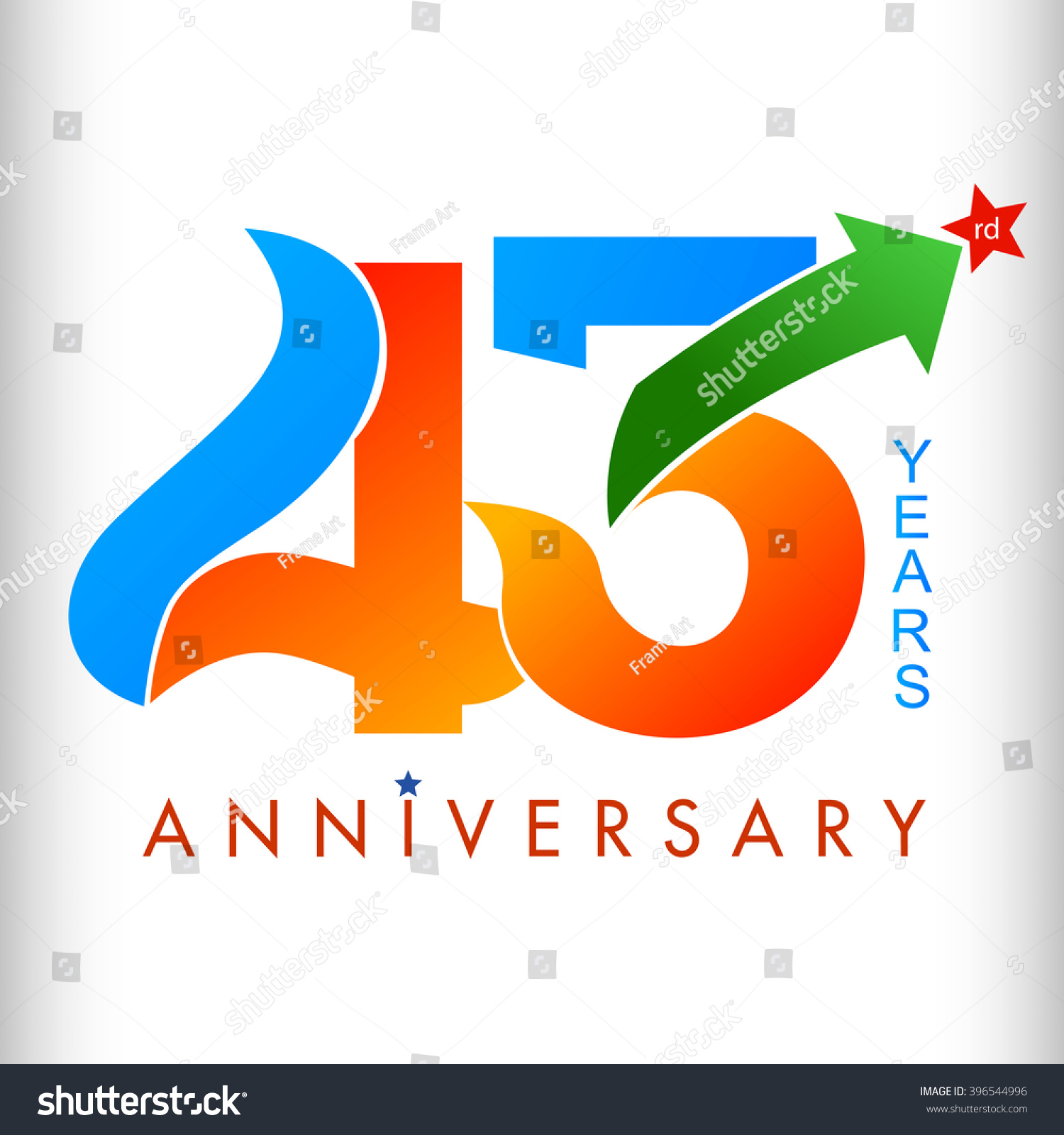 Template Logo 43rd Anniversary Color Star Stock Vector Royalty Free