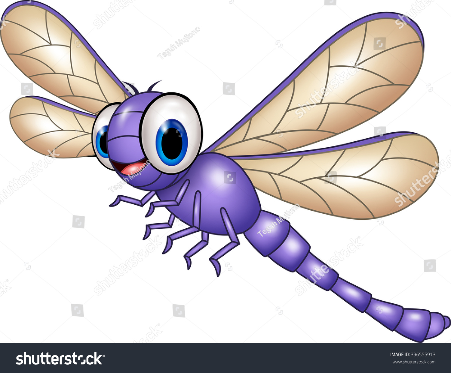 cartoon funny dragonfly isolated on white stock vector 396555913