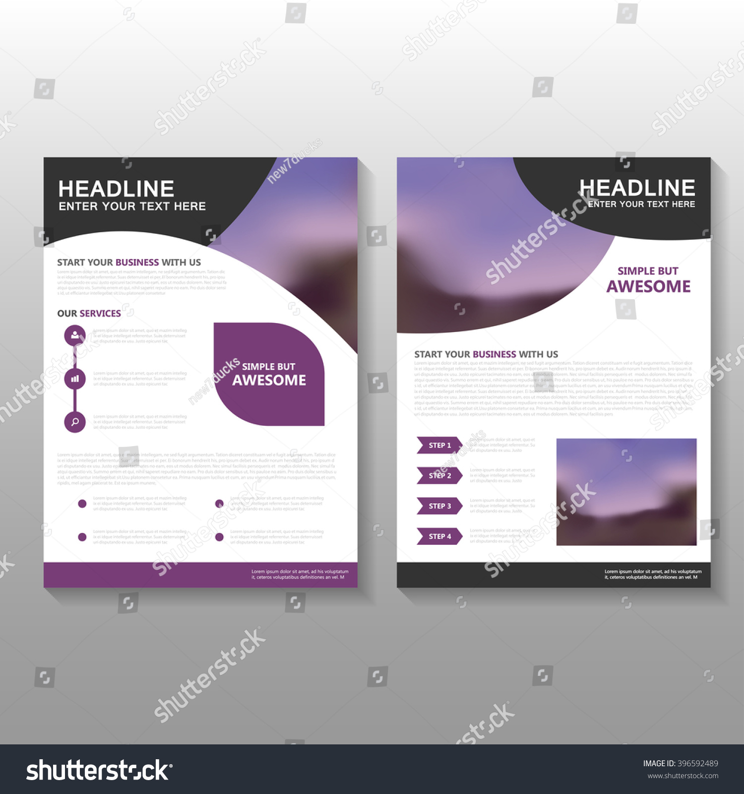 Purple vector business proposal leaflet brochure stock vector purple vector business proposal leaflet brochure flyer template design book cover layout design abstract flashek Images