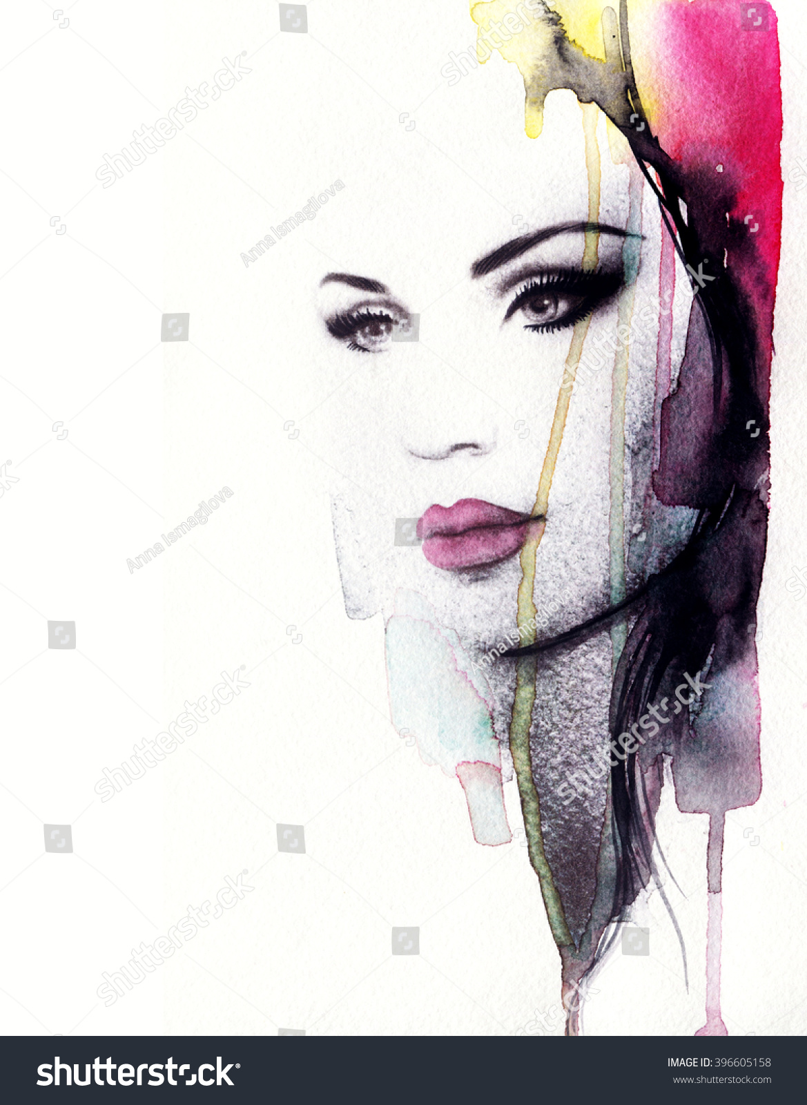 Abstract Fashion Watercolor Illustration. Beautiful Woman ...