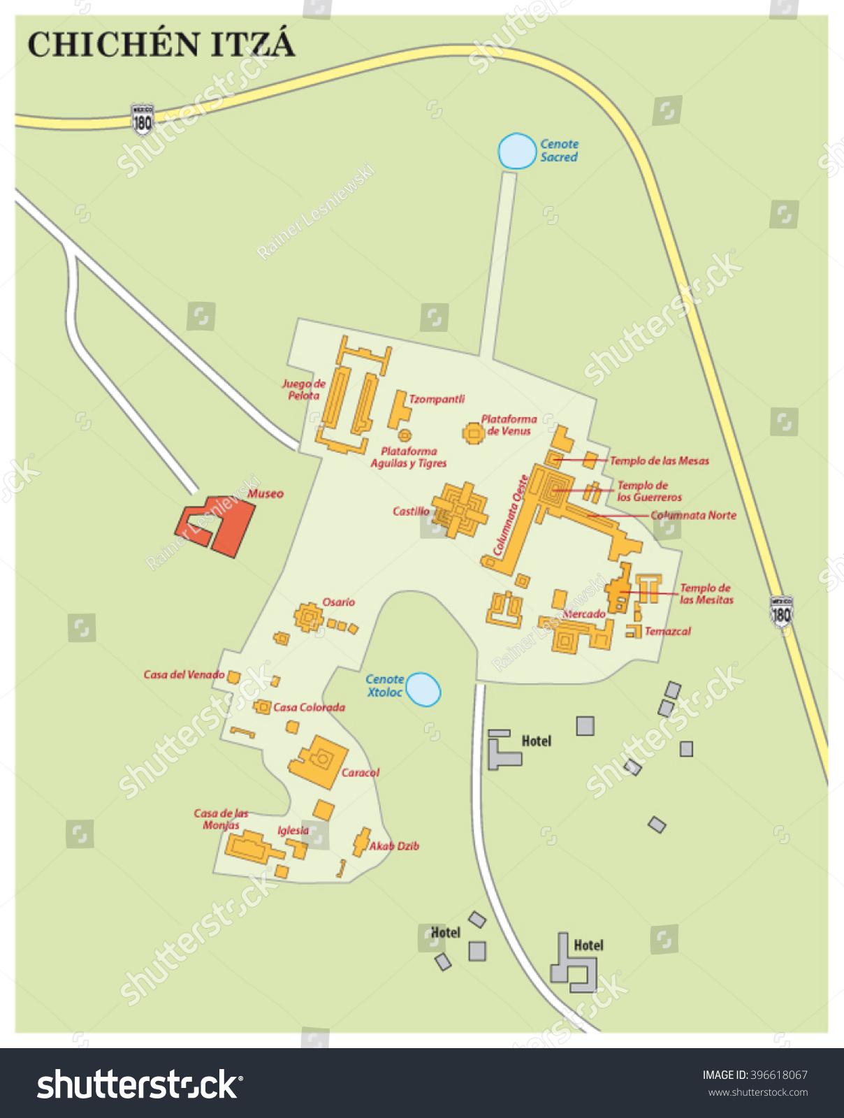 Map Maya Ruin Site Chichen Itza Stock Vector Shutterstock - Chichen itza map
