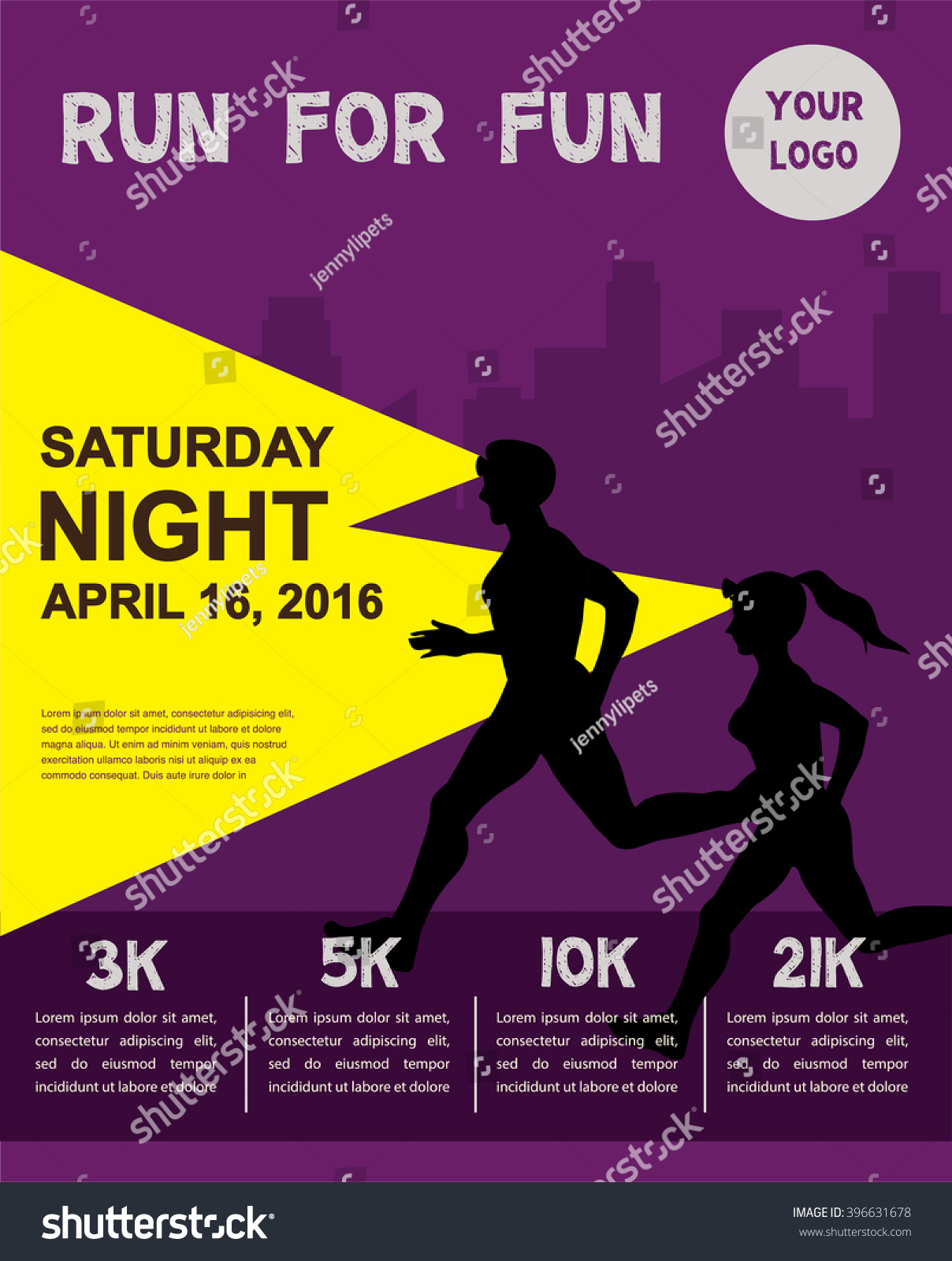 Zumba poster design - Night Running Marathon People Run Colorful Poster Design