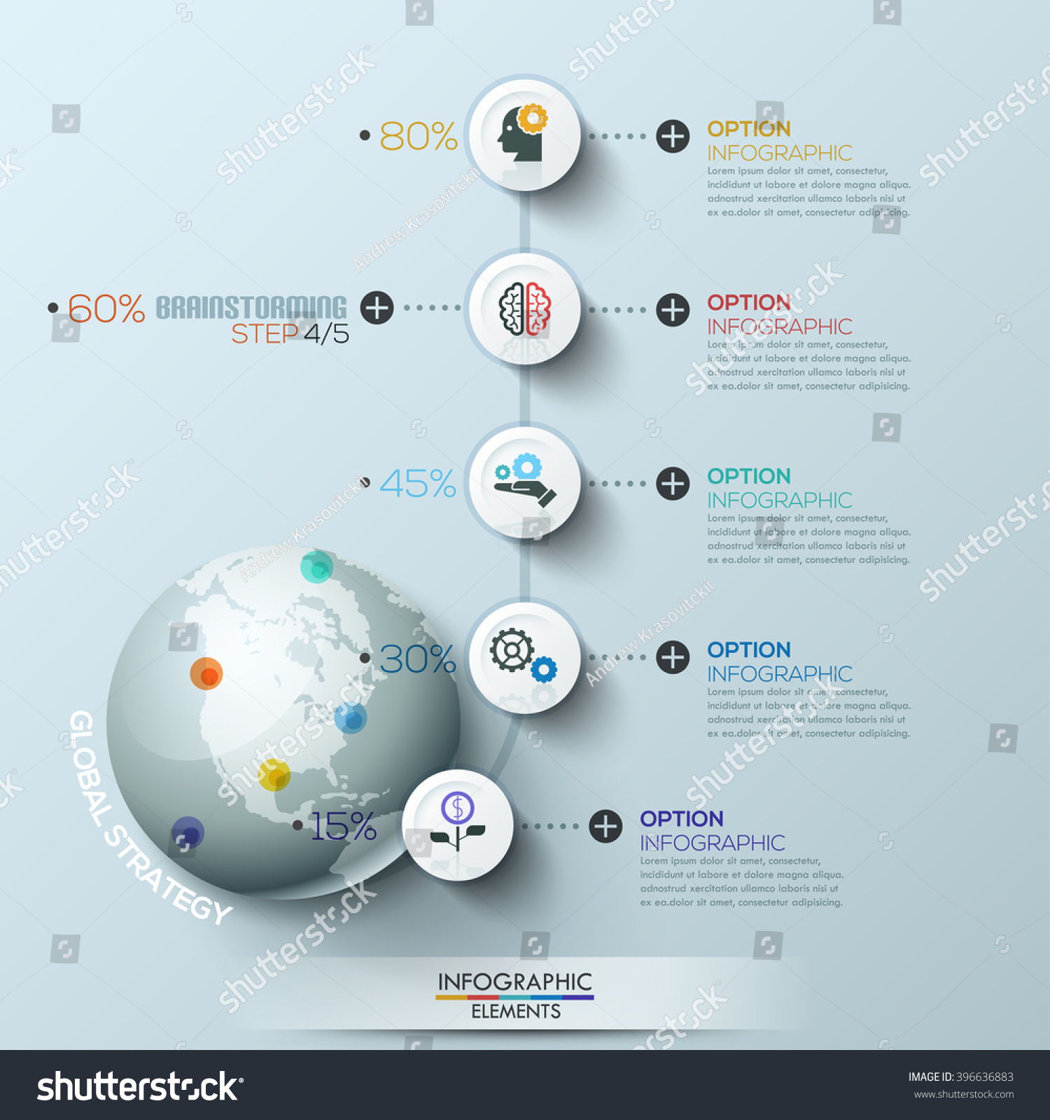 Business Global Process Infographic Template Circles Stock Vector