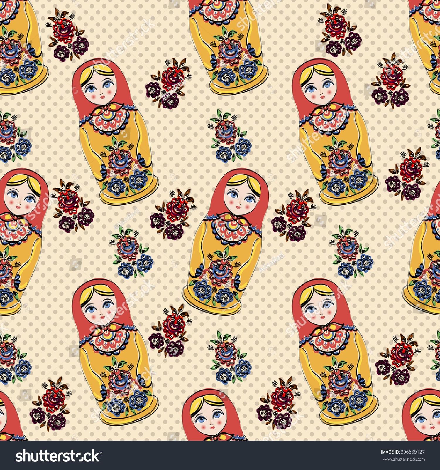seamless classic folklore pattern russian dolls stock illustration
