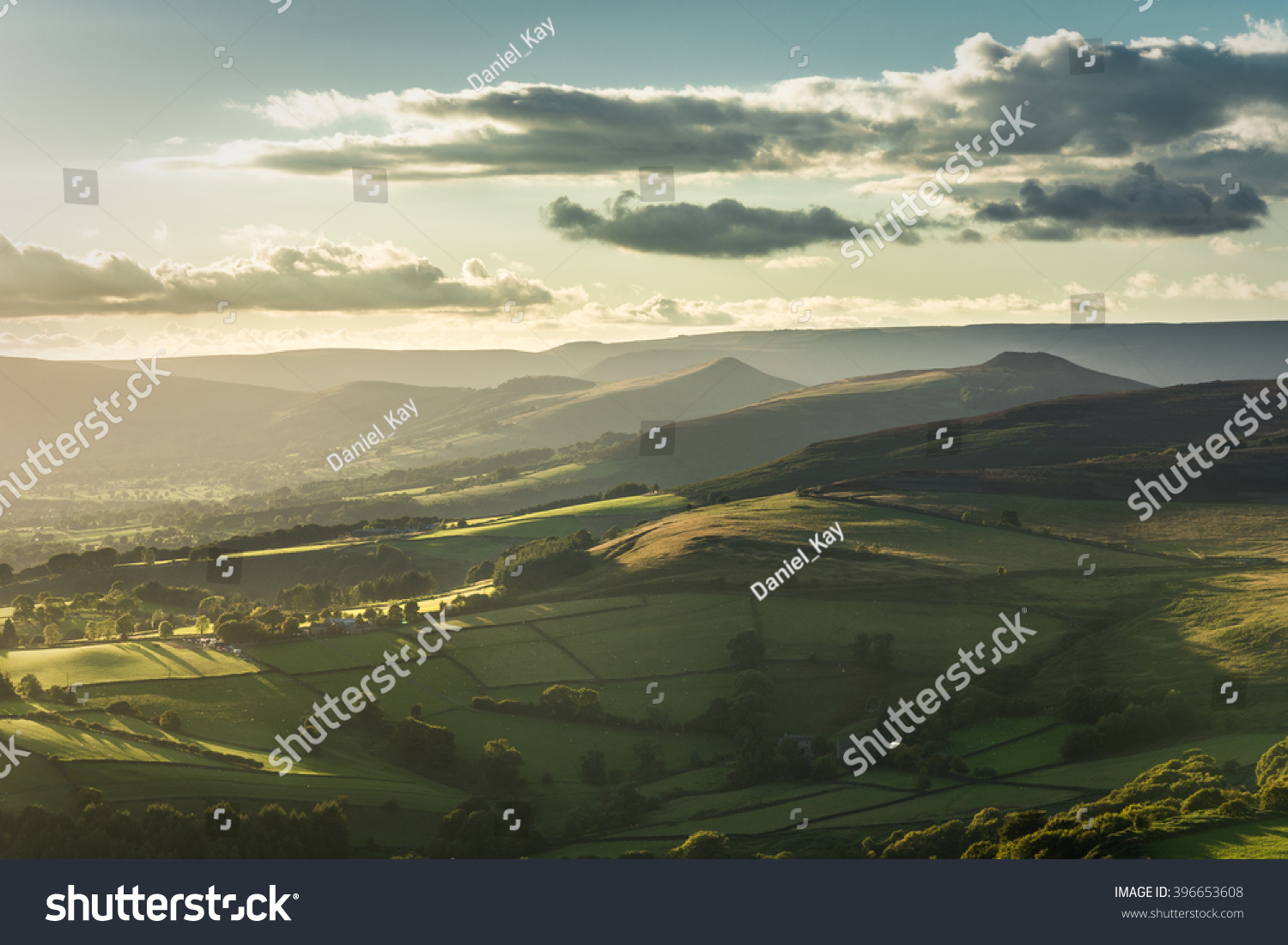 beautiful view hope valley derbyshire peak stock photo 396653608
