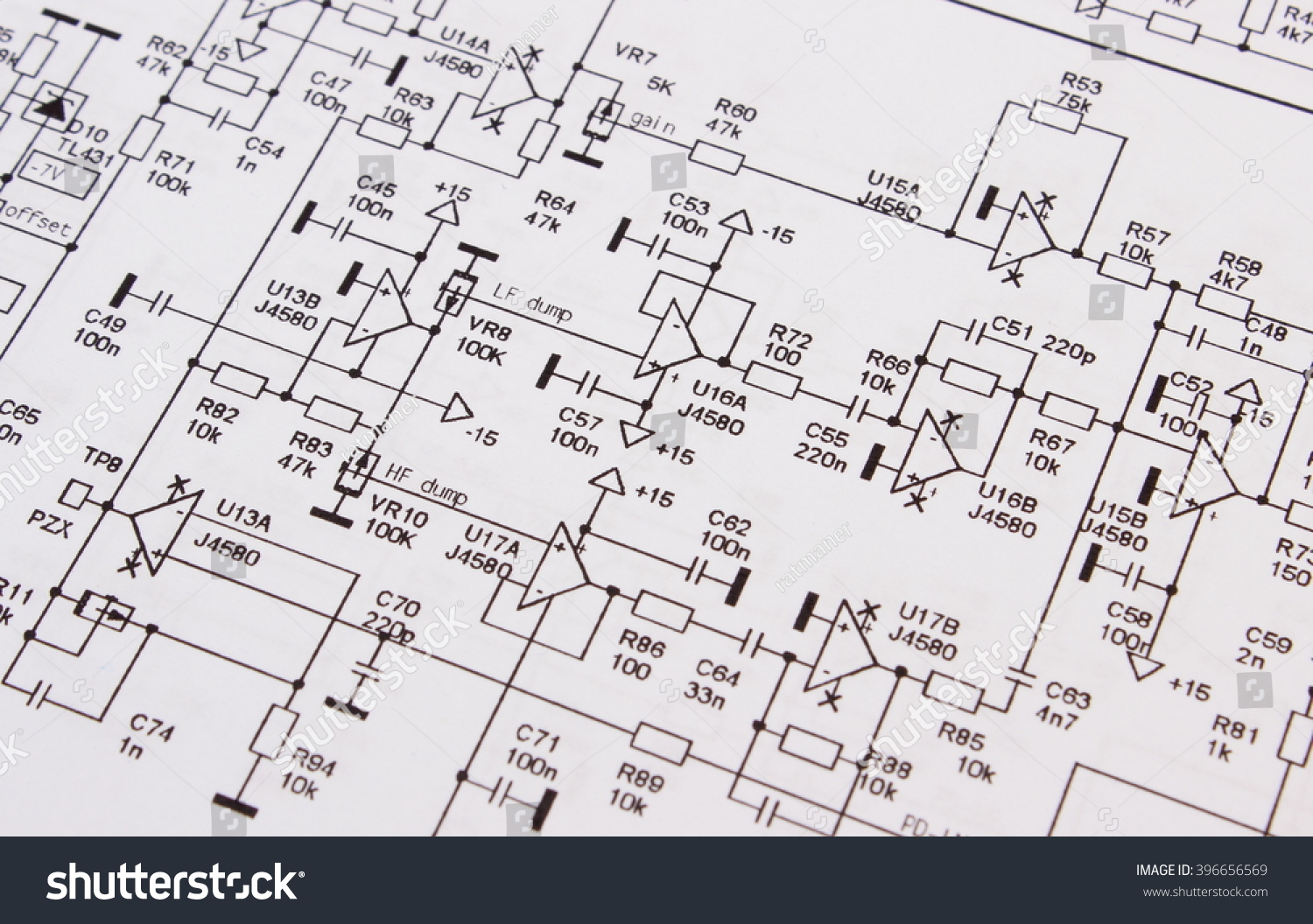 Diagram Electronics Printed Circuit Board Drawing Stock Photo ...